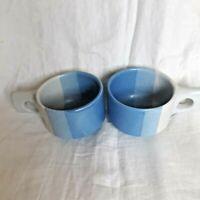 2 Fabrik Pottery Mugs/Cups 'Agate Pass' Shades of Blue Stoneware