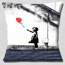 Banksy There is Always Hope Cushion Cover Girl with Red Balloon 16 inch 40 cm