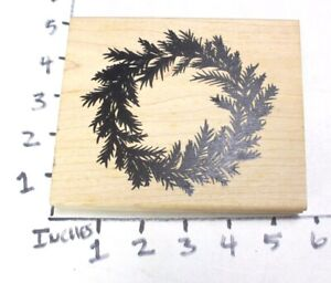 Wooden RUBBER STAMP Block Christmas Large Wreath by Denamidesign