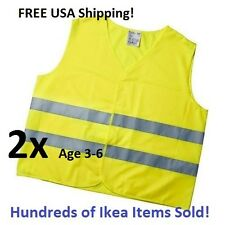 2x Ikea Patrull Reflective Safety Vest Children's Kid's 3-6 small Yellow NWT!