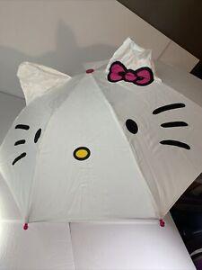Hello Kitty Girls Umbrella White With Ears & Umbrella Sleeve