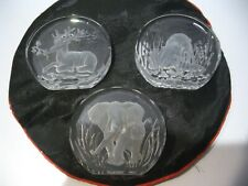 "Danbury Mint Wildlife Crystal Lot X 3 Art Piece, 3 1/8"" W/Faceted/Beveled Edges"