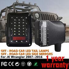 Firebug Jeep Side Mirror Housing Light + Wrangler Tail Lights, Jeep Rear Lights