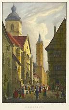 ARNSTADT - GASSE MIT LIEBFRAUENKIRCHE - Duller - kolorierter Stahlstich 1845