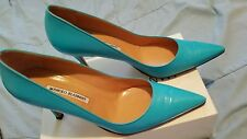 Manolo Blahnik Turquoise Leather Pumps 41