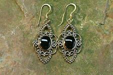 Boucles d'oreilles bronze avec onyx Grand moyen-âge Vikings Celtes