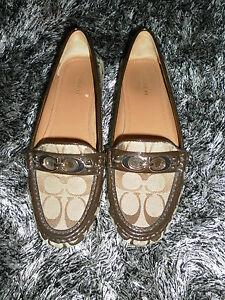 Coach A0008 Fortunata Brown/Beige Signature C Logo Loafers Size 8