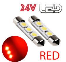 2 Light Bulbs 24V festoon Red LED C10W 41mm 41 MM Truck Scania Volvo Renault