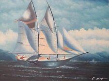 Barcos de vela grande pintura al óleo lienzo original sea Waves Paisaje Azul Océano