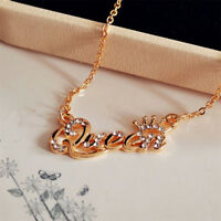 Elegant Letter Queen Pendant Shiny Rhinestone Clavicle Chain Necklace Cheap CN98