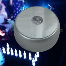 Round 3D Crystal Glass Laser LED Battery Electric Light Up Stand Base Display UP