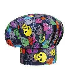 EGOCHEF Bistromütze Kochmütze Color Skulls (bunter Motivdruck Totenköpfe) ★KULT★