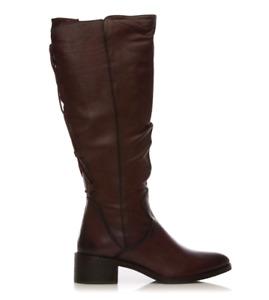 Moda in Pelle Lucura Womens UK 6 EU 39 Burgundy Leather Knee High Tall Boots