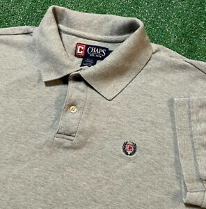 Chaps Ralph Lauren Polo Shirt Mens Large Adult Gray Collared Logo Vintage USA