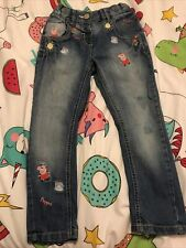 Girls Next Peppa Pig Distressed Jeans Age 3-4 Embroidered