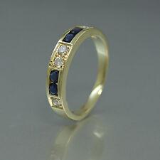 RING in 585/14k Gelbgold mit Brillanten ca. 0,10ct und Saphiren -Ringgröße 50-