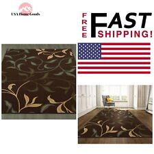Chocolate Area Rug 8ft x 10ft Contemporary Leaves Design Stain Fade Resistant