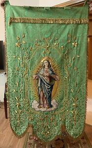"""Antique French Hand Embroidery Catholic Priest Vestments Church Panel 36"""" X 66"""""""