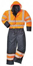 Portwest S485 Hi-Vis Contrast Coverall Waterproof Work Boilersuit Quilted Lining