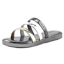 Michael Kors Keiko Slide Sandals Gunmetal Silver Size 9m Open Toe S11