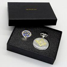 Masonic Gift Set Free Mason Silver & Gold Pocket Watch & Pendant Boxed Set Mason