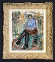 RAYA SAFIR (1909-2004) PEINTURE FAUVISTE FEMME DANS L'ATELIER 1950 (164)