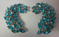 Vintage Signed Bellini Haute Couture Blue Rhinestone Chunky Big Clip On Earrings