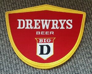 """LARGE 9"""" Vintage Drewrys Big D Beer New Old Stock Cloth Patch EMPLOYEE PROMO"""