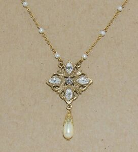 Vintage 1928 Brand Victorian Style Rhinestone & Faux Pearl Drop Pendant Necklace