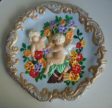 Plaster Garden Wall Art Plaque *H/Painted Cherub Angels Flowers Gold Scroll Edge