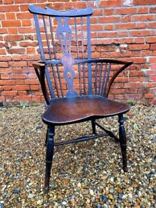 Mid 18thC English Antique Thames Valley Fruitwood & Elm Windsor Armchair