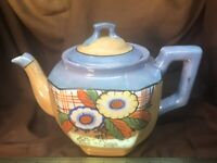 Vintage 1920-40 Teapot Lusterware Peach & Blue Flowers Japan Hotta Yu Shoten