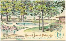 Howard Johnson's Motor Lodge in Allendale SC Artist Walter Bowers Postcard