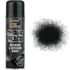 10 x Metallic Black Spray Paint Interior & Exterior Spray Aerosol Can 200ml