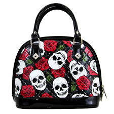 NWT Loungefly's White Skull & Roses Faux Patent Leather Dome Bag