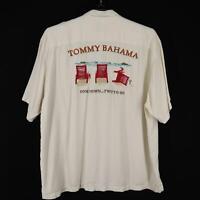 Mens Tommy Bahama Ivory Graphic Hawaiian Camp Shirt Size 2XL XXL 100% Silk Beach
