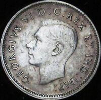 1946 AU+ Canada Silver 10 Cents - KM# 47