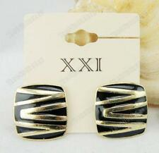 CLIP ON square RETRO ENAMEL EARRINGS black GOLD PLTD zebra CLIPS stripes