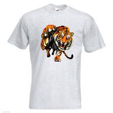 Tiger acecho para hombre Printed T-Shirt Big Cat Vida Silvestre Animales colmillos Garra
