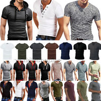 Men's Short Sleeve Tee Shirt T-Shirts Muscle Summer Hoodie Casual Blouse Tops US