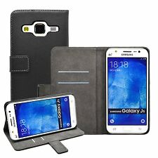 Wallet BLACK Leather Flip Case Cover Pouch For Mobile Phone Samsung Galaxy J5