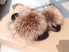 Fluffy Real Raccoon Fur Flat Slides Slippers Sandal Hot INS Summer Women's Shoes