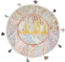 "XL 32"" Round Floor Pillow floor Cushion in White gypsy  Bohemian Patchwork pouf"