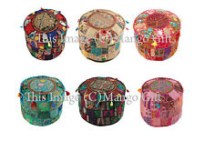 Indian Vintage Embroidered Footstool Ottoman Patchwork Round Pouf Cover Lot 25Pc