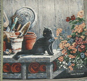 Cat, Black, w/ Flowers, S 1001 Tapestry Cotton Fabric Pillow