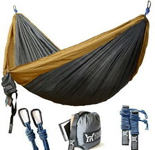 Double Camping Hammock Backpacking Portable Hiking Travel Beach Yard Outdoor New
