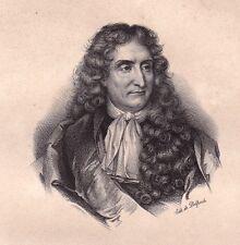 Portrait XIXe Jean de la Fontaine Château Thierry Aisne Louis XIV Versailles