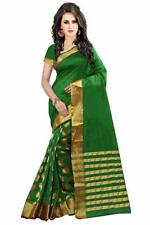 Women's Diwali Special Cotton Silk Saree With Blouse Piece Green Color