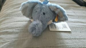 "Steiff Soft Cuddly Friends Earz Ears Elephant rattle 3""stuffed plush lovey NWT"