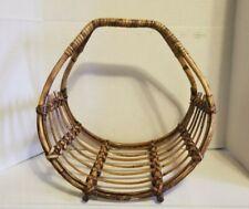 Mid Century Modern Rattan Bamboo Magazine Rack Log Basket MCM
